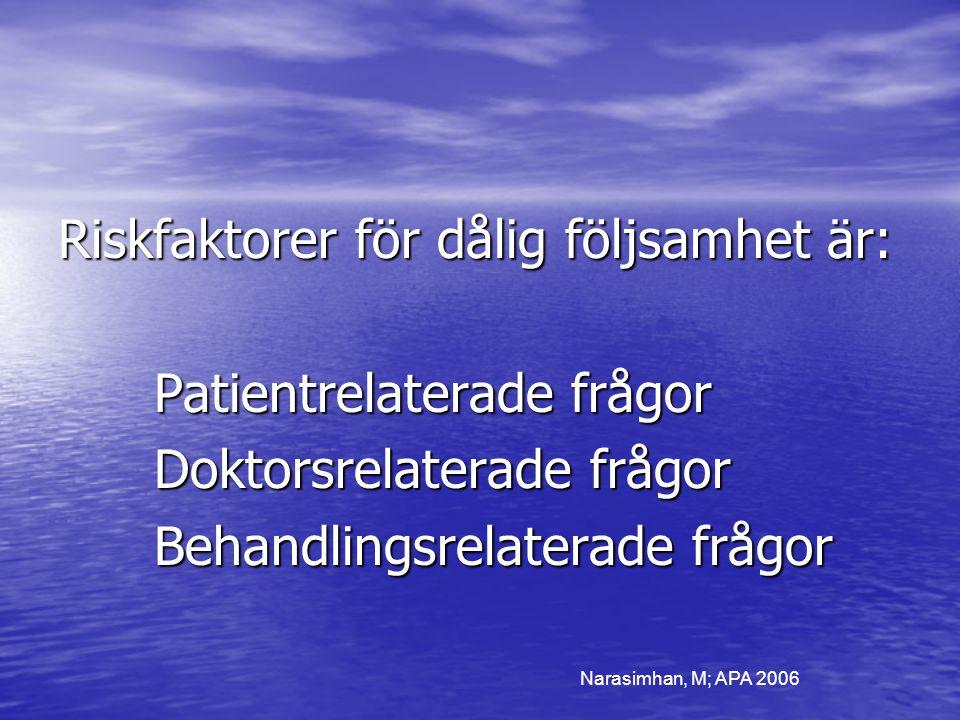 Riskfaktorer för dålig följsamhet är: Patientrelaterade frågor Doktorsrelaterade frågor Behandlingsrelaterade frågor Narasimhan, M; APA 2006