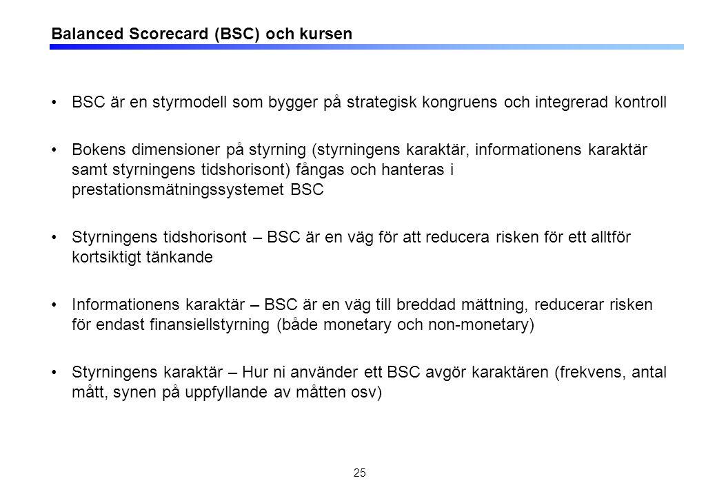 Balanced Scorecard (BSC) och kursen BSC är en styrmodell som bygger på strategisk kongruens och integrerad kontroll Bokens dimensioner på styrning (styrningens karaktär, informationens karaktär samt styrningens tidshorisont) fångas och hanteras i prestationsmätningssystemet BSC Styrningens tidshorisont – BSC är en väg för att reducera risken för ett alltför kortsiktigt tänkande Informationens karaktär – BSC är en väg till breddad mättning, reducerar risken för endast finansiellstyrning (både monetary och non-monetary) Styrningens karaktär – Hur ni använder ett BSC avgör karaktären (frekvens, antal mått, synen på uppfyllande av måtten osv) 25