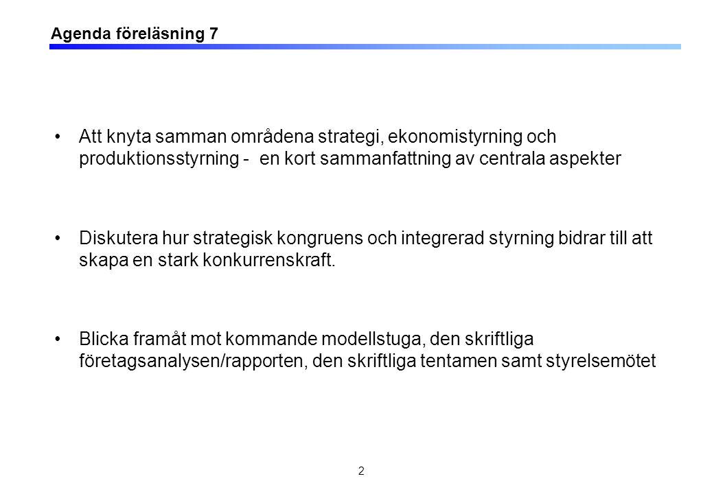 Agenda föreläsning 7 Att knyta samman områdena strategi, ekonomistyrning och produktionsstyrning - en kort sammanfattning av centrala aspekter Diskutera hur strategisk kongruens och integrerad styrning bidrar till att skapa en stark konkurrenskraft.