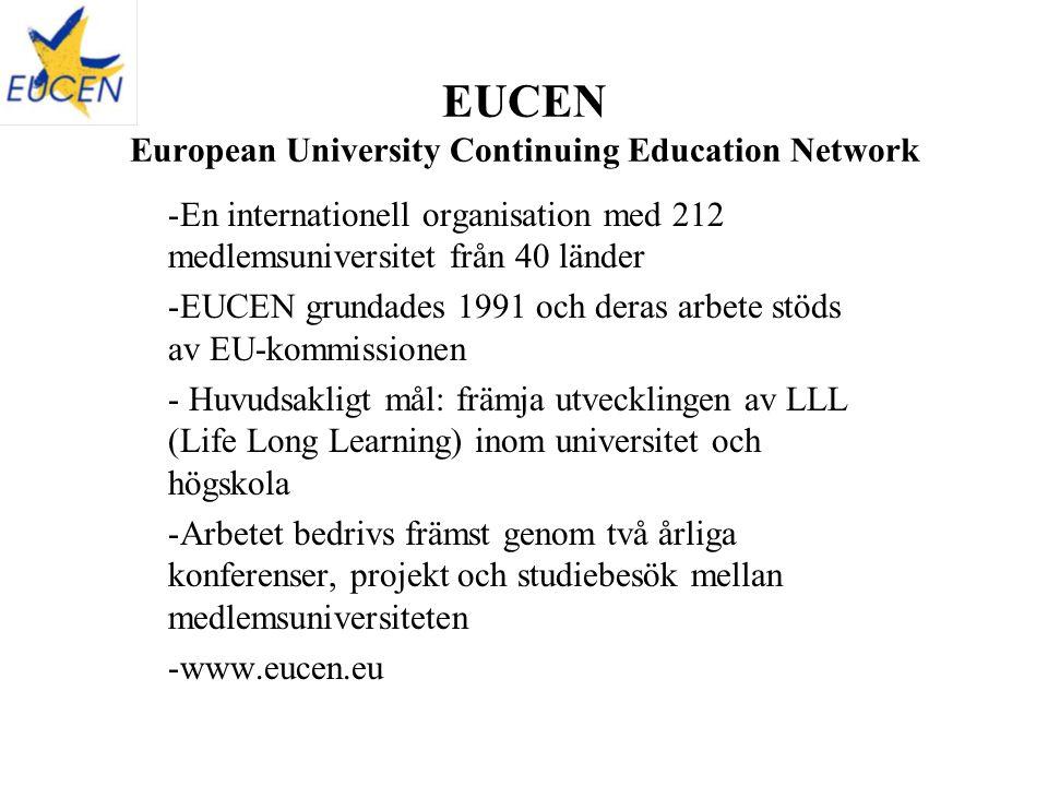 EUCEN European University Continuing Education Network -En internationell organisation med 212 medlemsuniversitet från 40 länder -EUCEN grundades 1991 och deras arbete stöds av EU-kommissionen - Huvudsakligt mål: främja utvecklingen av LLL (Life Long Learning) inom universitet och högskola -Arbetet bedrivs främst genom två årliga konferenser, projekt och studiebesök mellan medlemsuniversiteten -www.eucen.eu