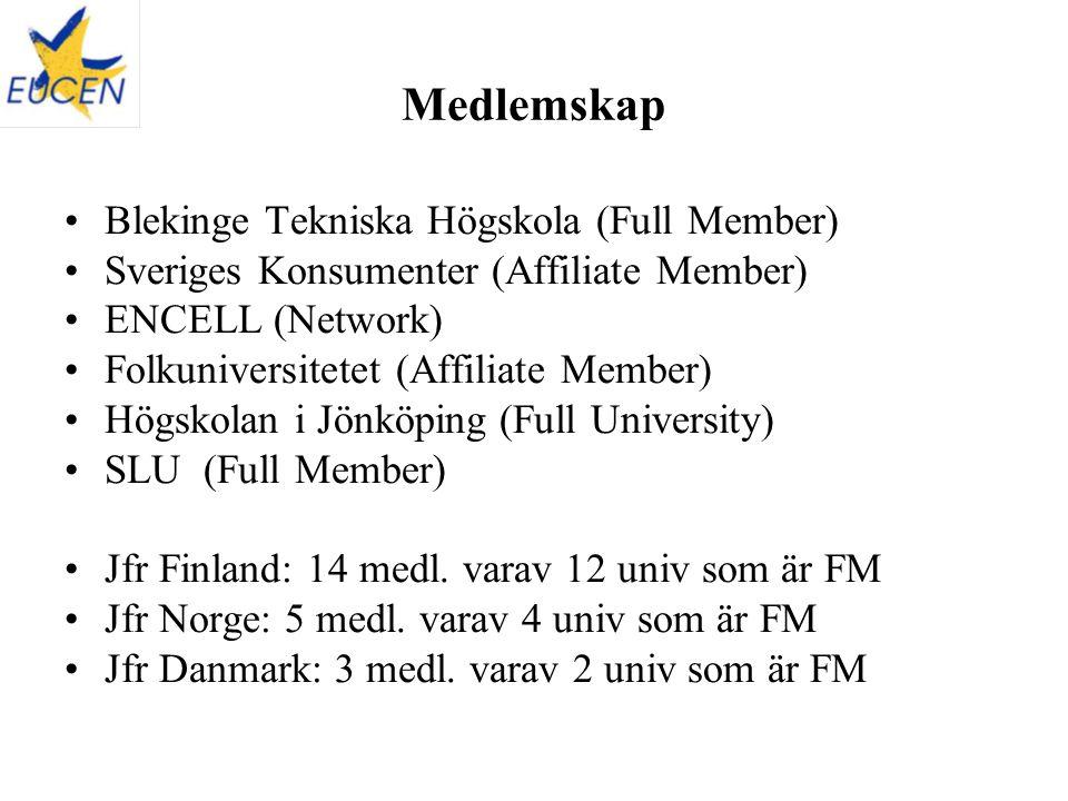 Blekinge Tekniska Högskola (Full Member) Sveriges Konsumenter (Affiliate Member) ENCELL (Network) Folkuniversitetet (Affiliate Member) Högskolan i Jönköping (Full University) SLU (Full Member) Jfr Finland: 14 medl.