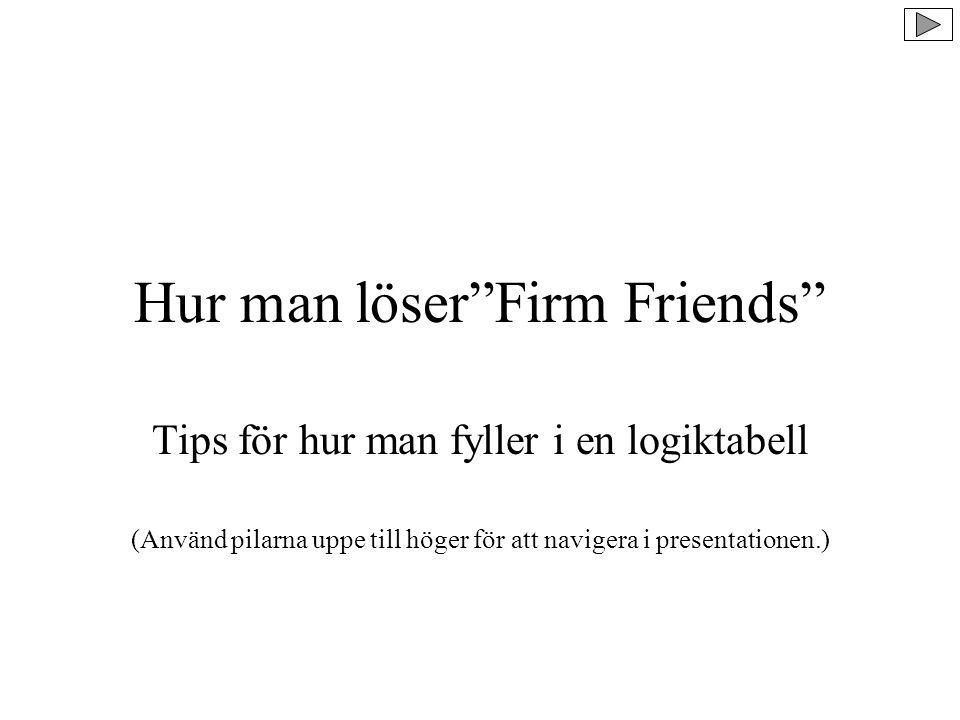 Hur man löser Firm Friends Tips för hur man fyller i en logiktabell (Använd pilarna uppe till höger för att navigera i presentationen.)