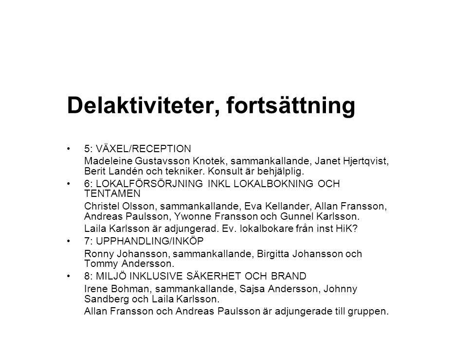 Delaktiviteter, fortsättning 5: VÄXEL/RECEPTION Madeleine Gustavsson Knotek, sammankallande, Janet Hjertqvist, Berit Landén och tekniker. Konsult är b
