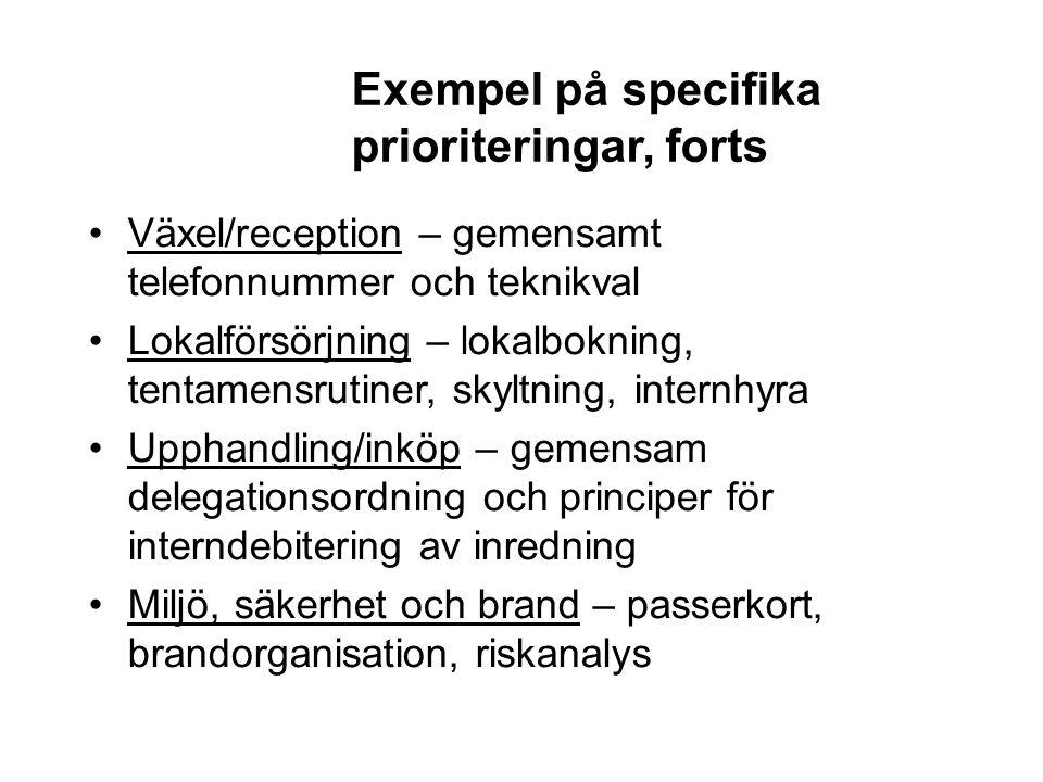 Exempel på specifika prioriteringar, forts Växel/reception – gemensamt telefonnummer och teknikval Lokalförsörjning – lokalbokning, tentamensrutiner,