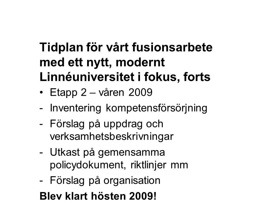 Tidplan för vårt fusionsarbete med ett nytt, modernt Linnéuniversitet i fokus, forts Etapp 2 – våren 2009 -Inventering kompetensförsörjning -Förslag p