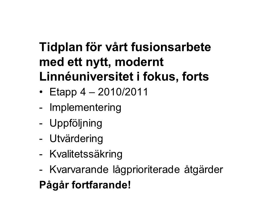 Tidplan för vårt fusionsarbete med ett nytt, modernt Linnéuniversitet i fokus, forts Etapp 4 – 2010/2011 -Implementering -Uppföljning -Utvärdering -Kv