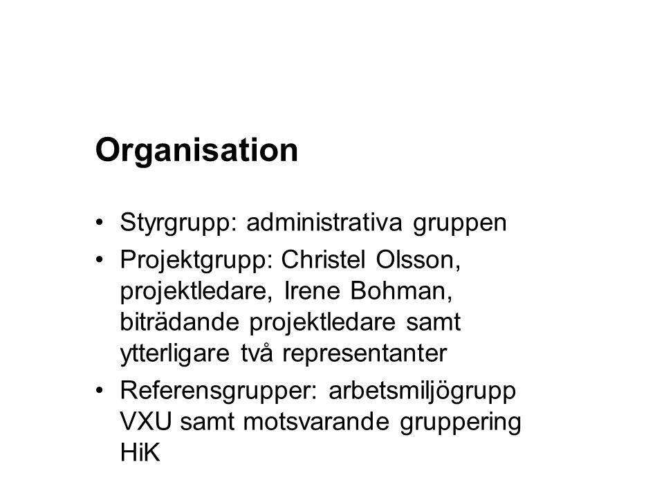 Organisation Styrgrupp: administrativa gruppen Projektgrupp: Christel Olsson, projektledare, Irene Bohman, biträdande projektledare samt ytterligare två representanter Referensgrupper: arbetsmiljögrupp VXU samt motsvarande gruppering HiK