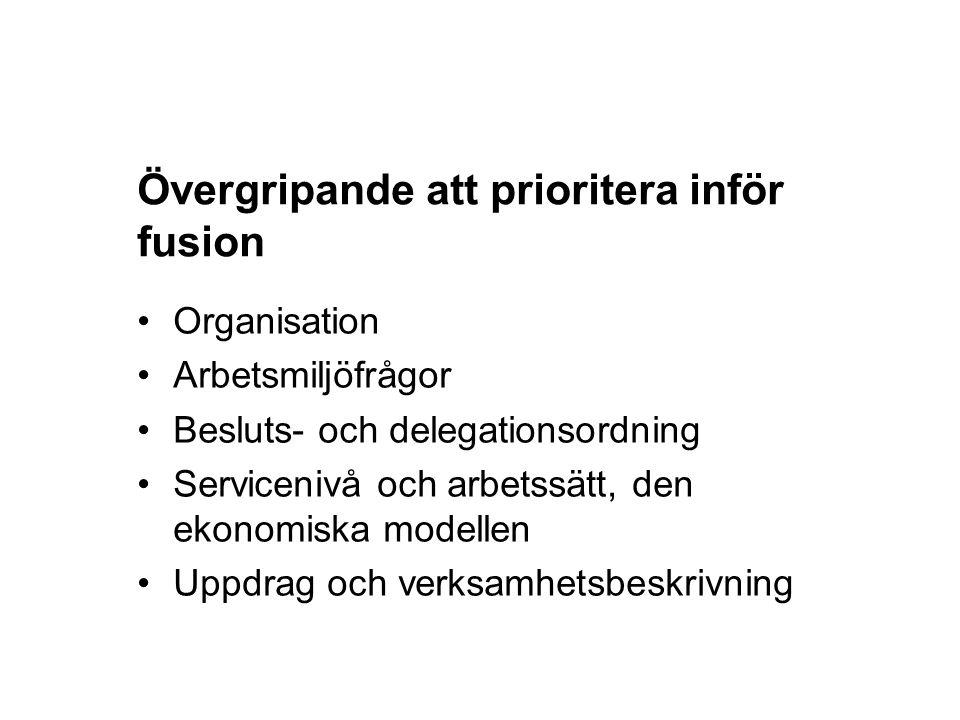 Övergripande att prioritera inför fusion Organisation Arbetsmiljöfrågor Besluts- och delegationsordning Servicenivå och arbetssätt, den ekonomiska mod