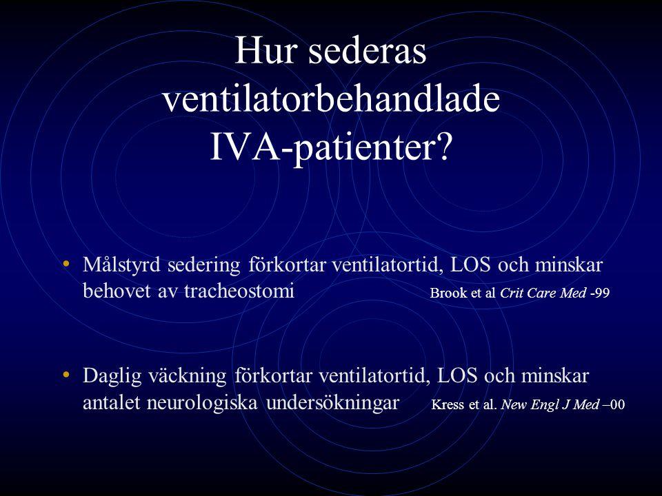 Hur sederas ventilatorbehandlade IVA-patienter? Målstyrd sedering förkortar ventilatortid, LOS och minskar behovet av tracheostomi Brook et al Crit Ca