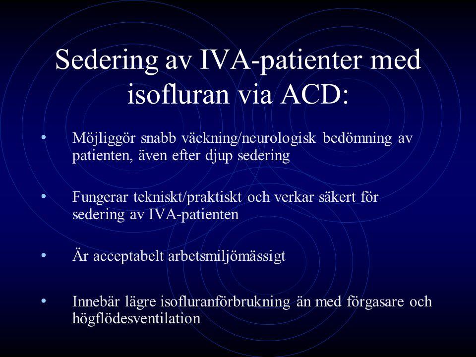 Sedering av IVA-patienter med isofluran via ACD: Möjliggör snabb väckning/neurologisk bedömning av patienten, även efter djup sedering Fungerar teknis