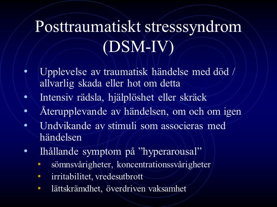 Posttraumatiskt stresssyndrom (DSM-IV) Upplevelse av traumatisk händelse med död / allvarlig skada eller hot om detta Intensiv rädsla, hjälplöshet ell