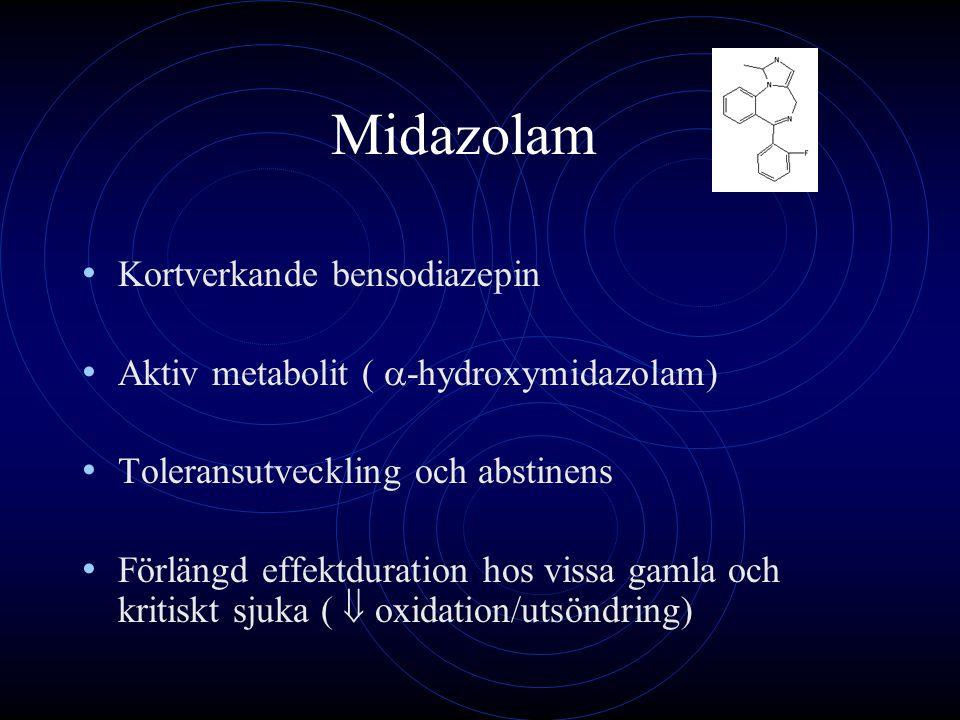 Midazolam Shelly MP et al Eur J Anaesthesiol 1991: 37 IVA-patienter Väckningstider efter flera dagars sedering: Friska 14 tim Pat med njursvikt 45 tim Pat med lever+njursvikt 130 tim