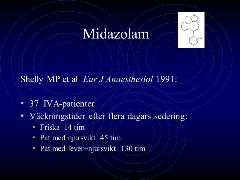 Propofol Mer kortverkande än midazolam Toleransutveckling, ev abstinens Främst levermetabolism Konjugering med glucuronid och sulfat Inaktiva metaboliter