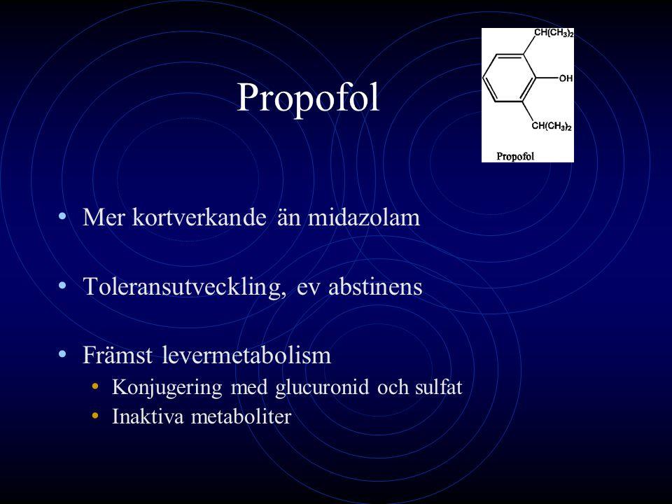 Propofol Mer kortverkande än midazolam Toleransutveckling, ev abstinens Främst levermetabolism Konjugering med glucuronid och sulfat Inaktiva metaboli