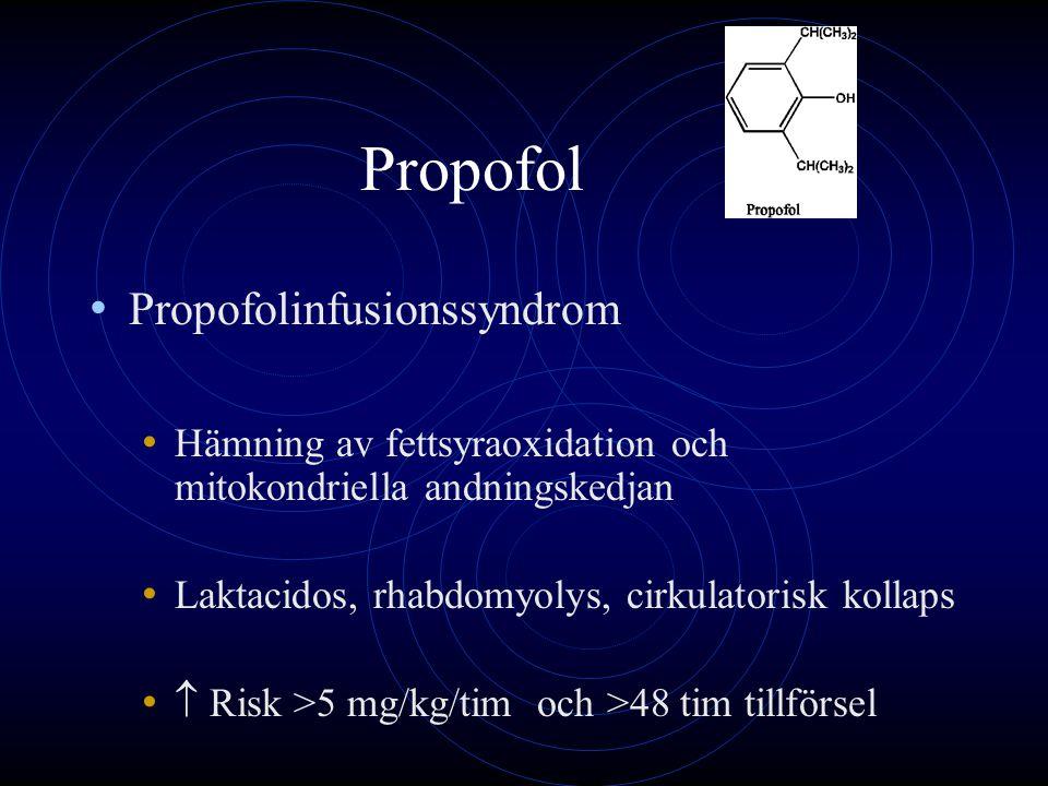Propofol Propofolinfusionssyndrom Hämning av fettsyraoxidation och mitokondriella andningskedjan Laktacidos, rhabdomyolys, cirkulatorisk kollaps  Ris