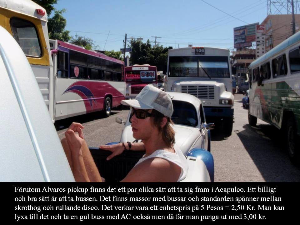 Förutom Alvaros pickup finns det ett par olika sätt att ta sig fram i Acapulco. Ett billigt och bra sätt är att ta bussen. Det finns massor med bussar