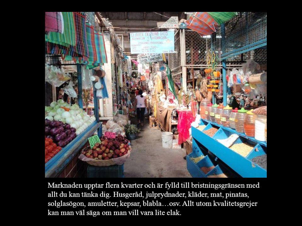 Marknaden upptar flera kvarter och är fylld till bristningsgränsen med allt du kan tänka dig. Husgeråd, julprydnader, kläder, mat, pinatas, solglasögo