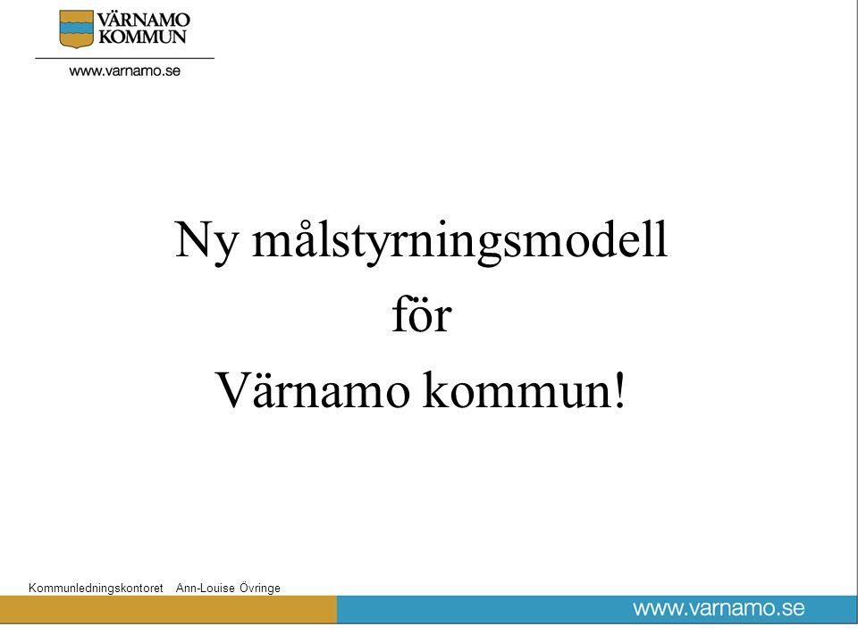 Kommunledningskontoret Ann-Louise Övringe Ny målstyrningsmodell för Värnamo kommun!