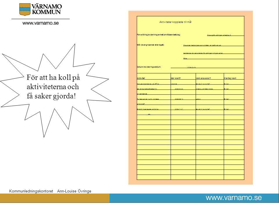 Kommunledningskontoret Ann-Louise Övringe Aktiviteter kopplade till mål Förvaltning/avdelning/enhet/område/arbetslag: Omsorgsförvaltningen arbetslag 5