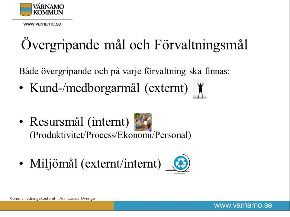 Kommunledningskontoret Ann-Louise Övringe Övergripande mål och Förvaltningsmål Både övergripande och på varje förvaltning ska finnas: Kund-/medborgarm