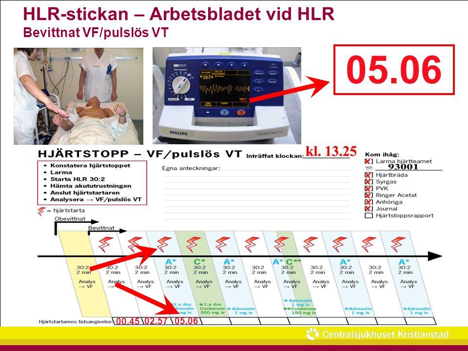 HLR-stickan – Arbetsbladet vid HLR Bevittnat VF/pulslös VT 00.45 02.57 05.06