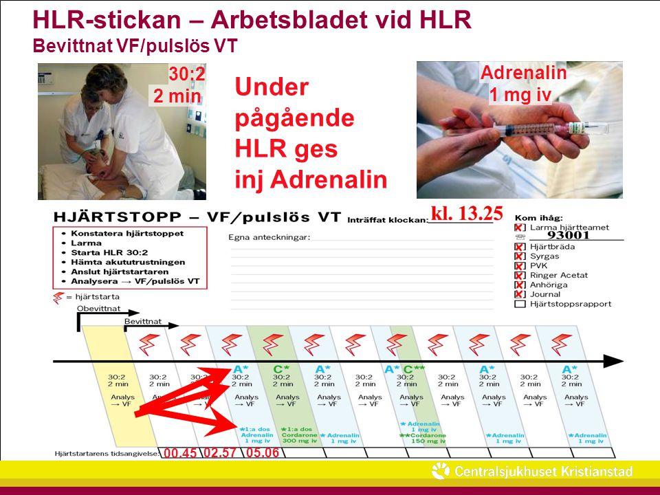 HLR-stickan – Arbetsbladet vid HLR Bevittnat VF/pulslös VT 00.45 02.57 05.06 Under pågående HLR ges inj Adrenalin 30:2 2 min Adrenalin 1 mg iv