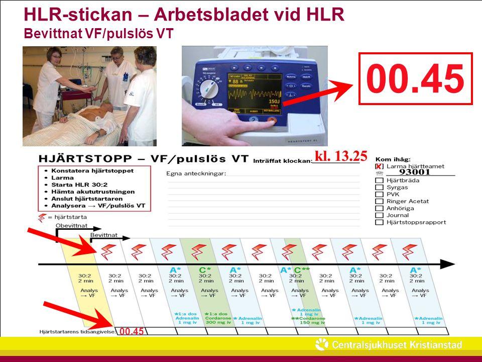 HLR-stickan – Arbetsbladet vid HLR Bevittnat VF/pulslös VT 00.45 30:2 2 min Hjärtbräda O2O2 PVK