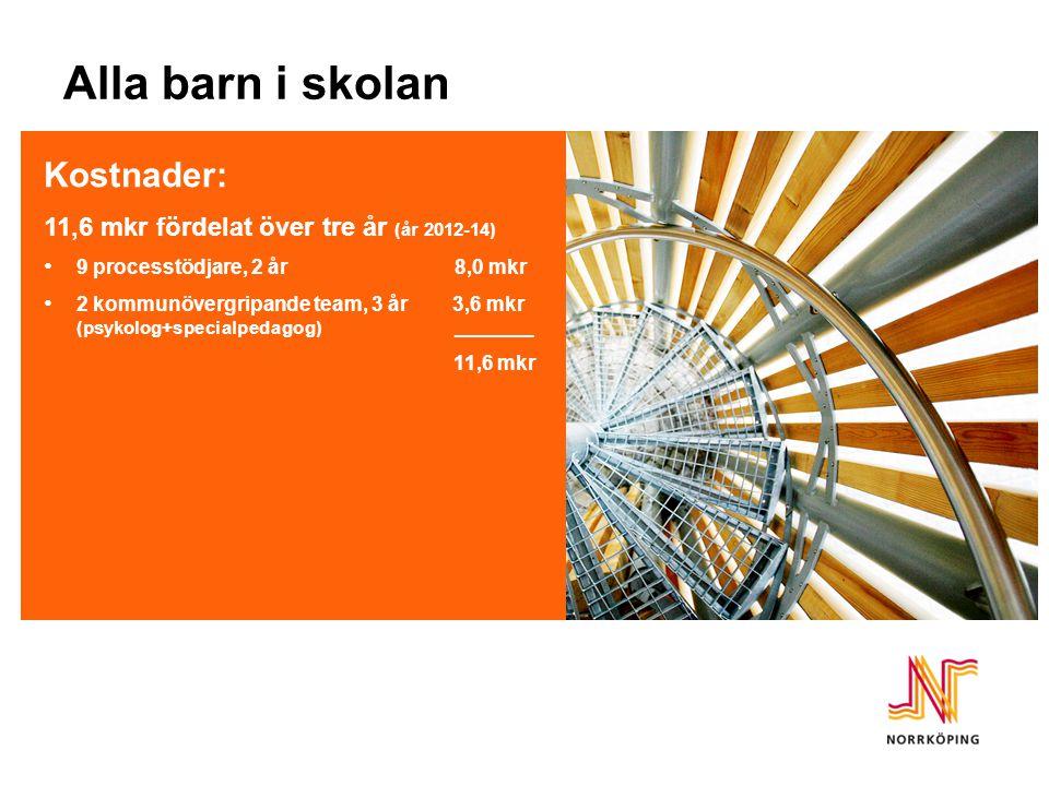 Kostnader: 11,6 mkr fördelat över tre år (år 2012-14) 9 processtödjare, 2 år 8,0 mkr 2 kommunövergripande team, 3 år 3,6 mkr (psykolog+specialpedagog)