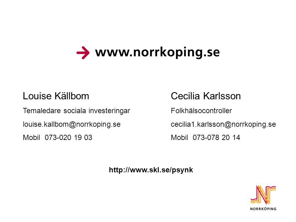 Louise KällbomCecilia Karlsson Temaledare sociala investeringarFolkhälsocontroller louise.kallbom@norrkoping.sececilia1.karlsson@norrkoping.se Mobil 0