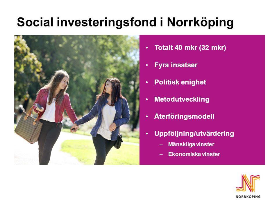 Social investeringsfond i Norrköping Totalt 40 mkr (32 mkr) Fyra insatser Politisk enighet Metodutveckling Återföringsmodell Uppföljning/utvärdering –