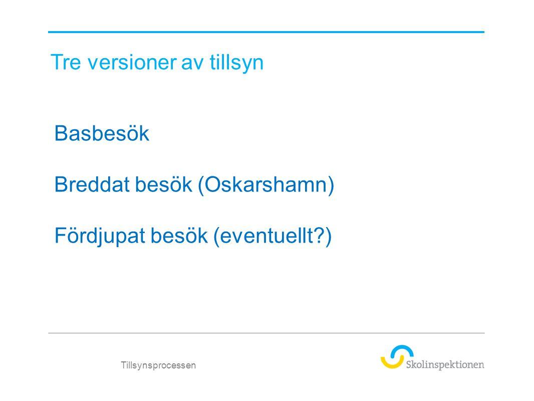 Tillsynsprocessen Basbesök Breddat besök (Oskarshamn) Fördjupat besök (eventuellt?) Tre versioner av tillsyn
