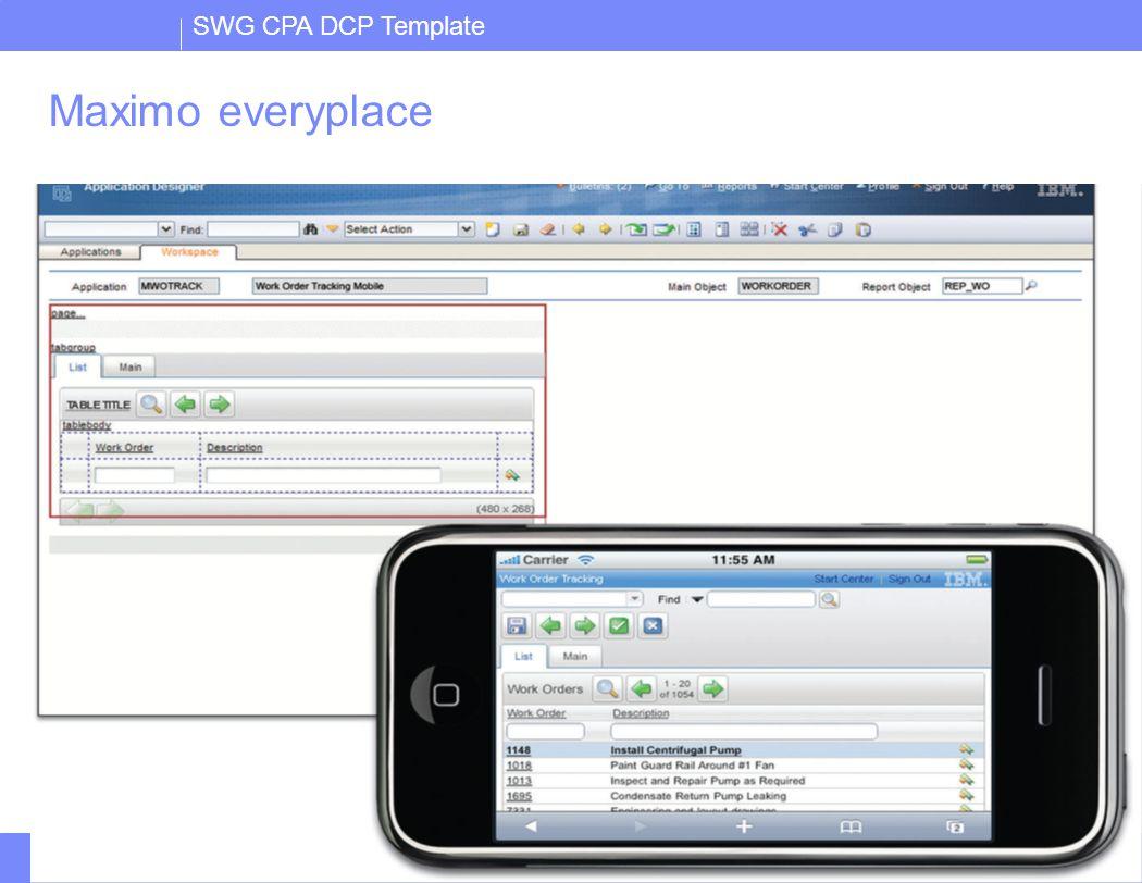 SWG CPA DCP Template IBM Confidential7 Maximo Everyplace  Alla browsers som supportas av Maximo, IE6, IE7 Safari  Billigare och enklare än traditionell mobil lösning  Ingen online-offline funktionalitet  Tillägg i Applicatin designer –Stöd för mindre skärm –Större knappar –Mindre banner  All Maximo funktionalitet tillgänglig