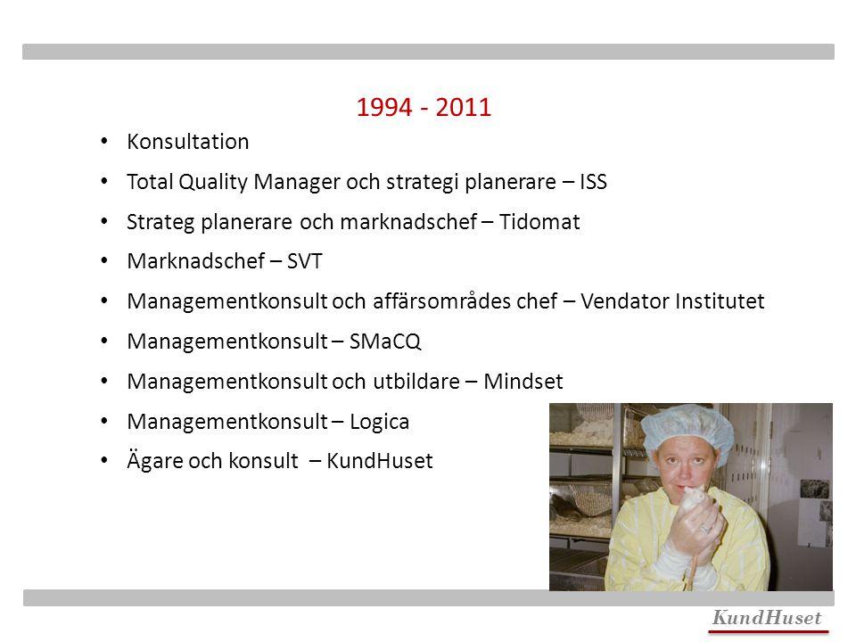 KundHuset Konsultation Total Quality Manager och strategi planerare – ISS Strateg planerare och marknadschef – Tidomat Marknadschef – SVT Managementko