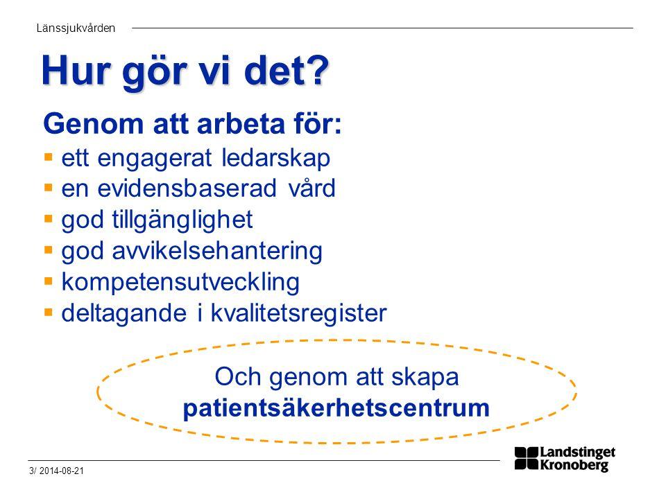 Länssjukvården 3/ 2014-08-21 Hur gör vi det? Genom att arbeta för:  ett engagerat ledarskap  en evidensbaserad vård  god tillgänglighet  god avvik