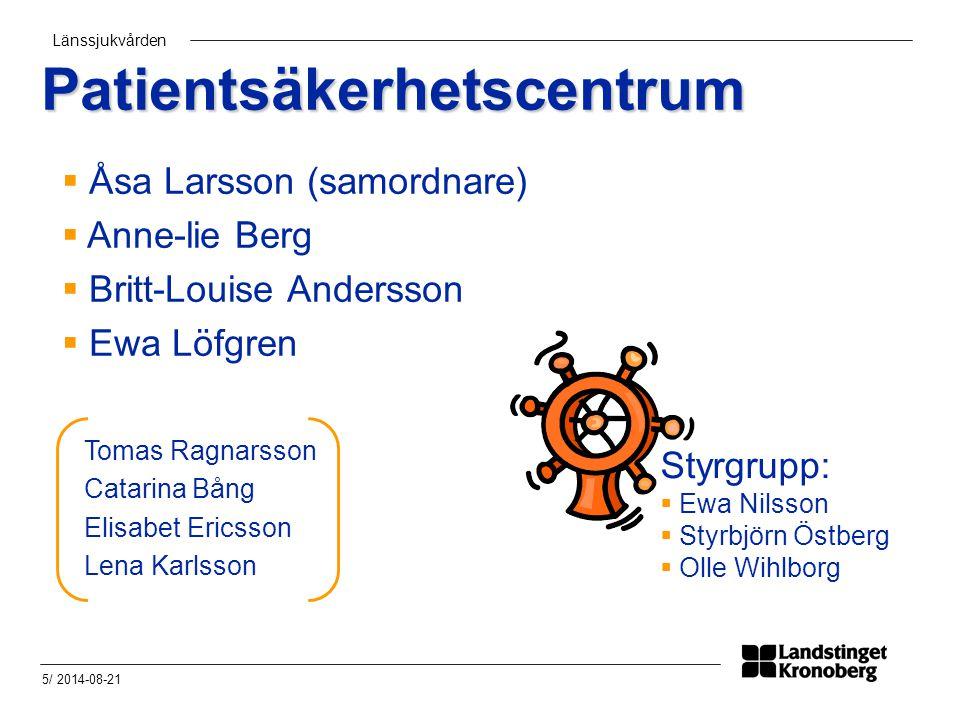 Länssjukvården 5/ 2014-08-21 Patientsäkerhetscentrum Styrgrupp:  Ewa Nilsson  Styrbjörn Östberg  Olle Wihlborg Tomas Ragnarsson Catarina Bång Elisa