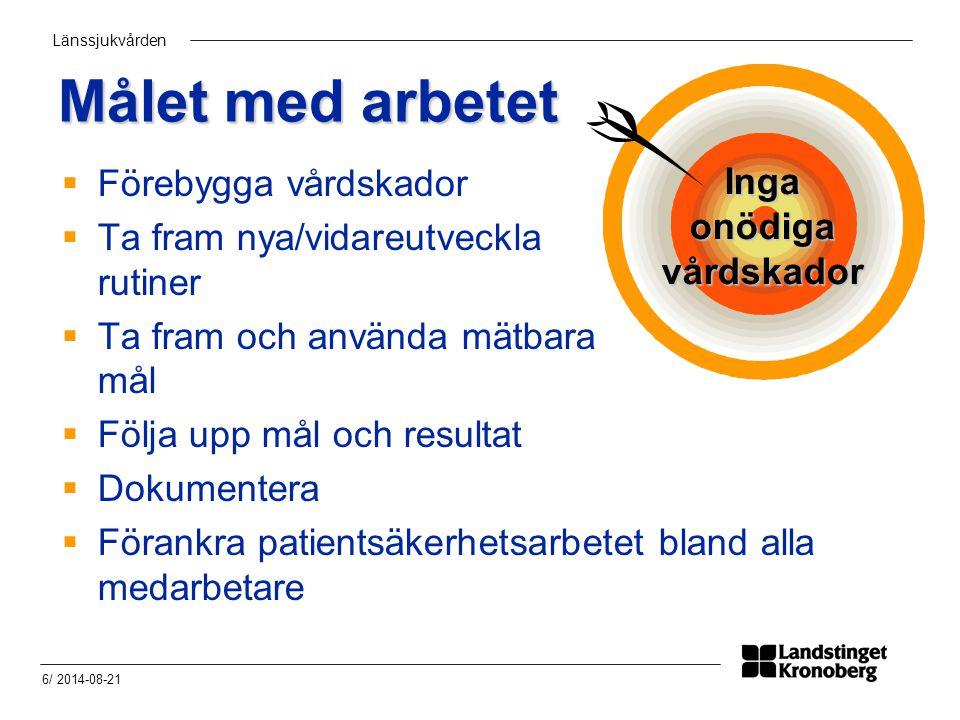 Länssjukvården 6/ 2014-08-21 Målet med arbetet  Förebygga vårdskador  Ta fram nya/vidareutveckla rutiner  Ta fram och använda mätbara mål  Följa u