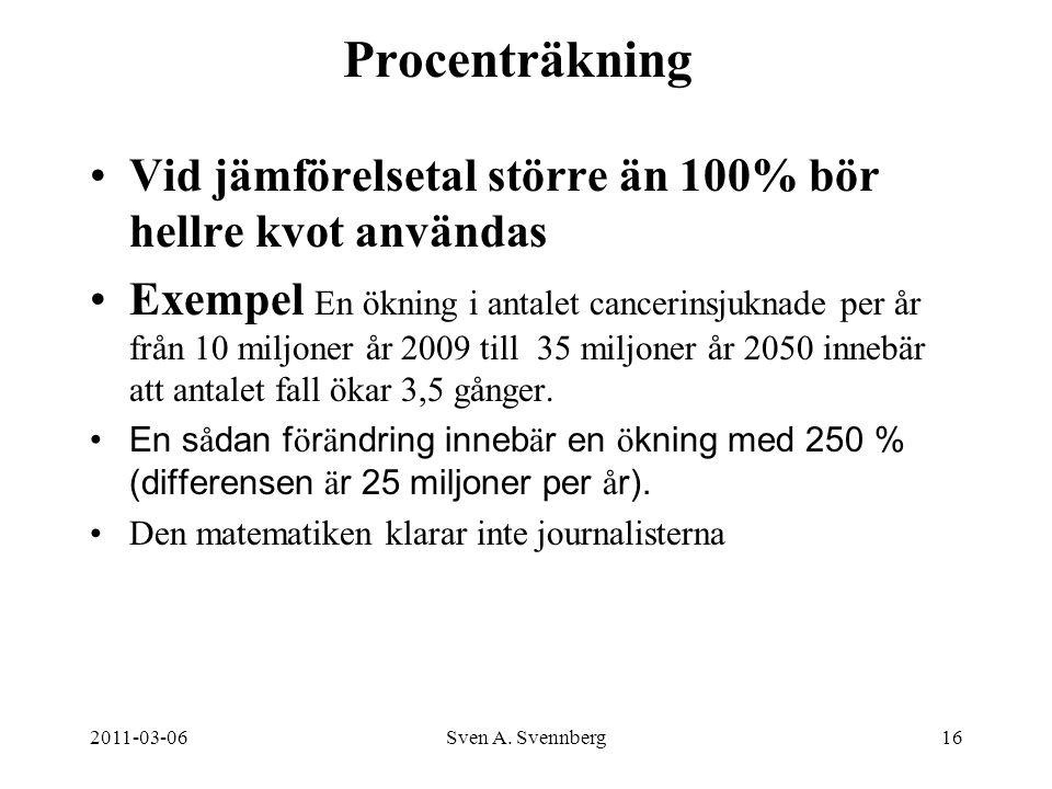 2011-03-06Sven A. Svennberg16 Procenträkning Vid jämförelsetal större än 100% bör hellre kvot användas Exempel En ökning i antalet cancerinsjuknade pe