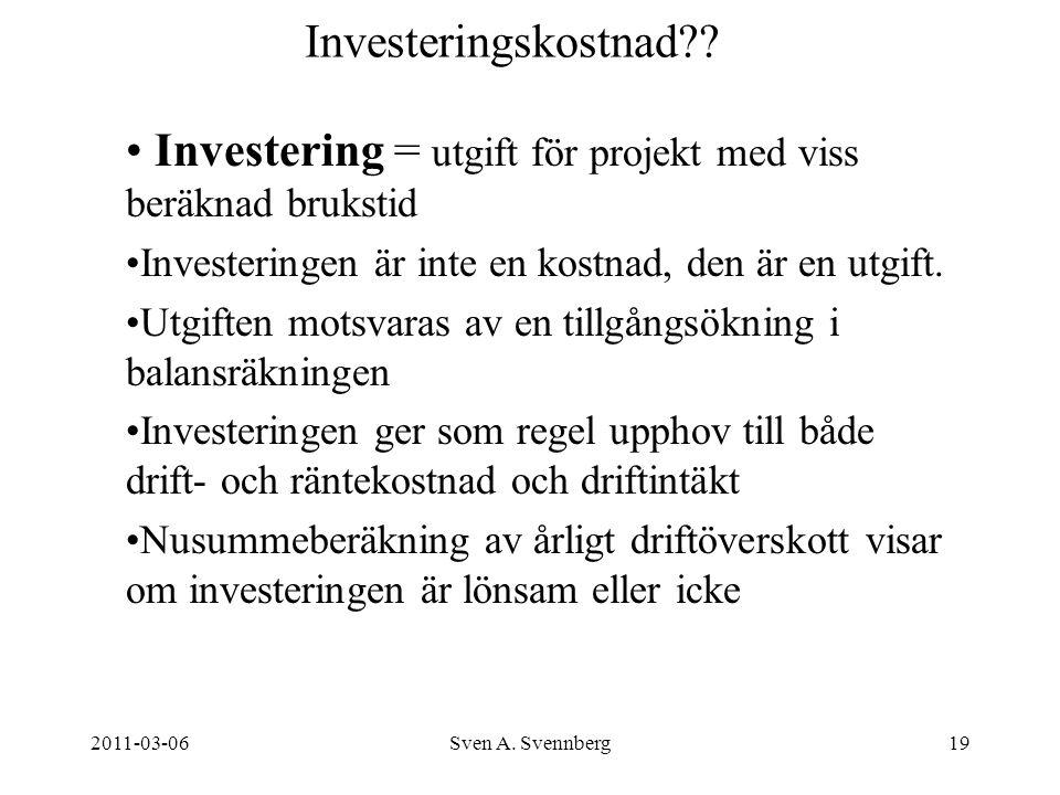 2011-03-06Sven A. Svennberg19 Investeringskostnad?? Investering = utgift för projekt med viss beräknad brukstid Investeringen är inte en kostnad, den