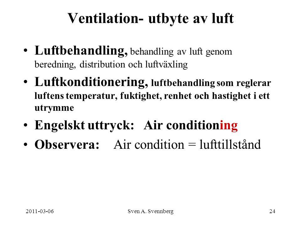 2011-03-06Sven A. Svennberg24 Ventilation- utbyte av luft Luftbehandling, behandling av luft genom beredning, distribution och luftväxling Luftkonditi
