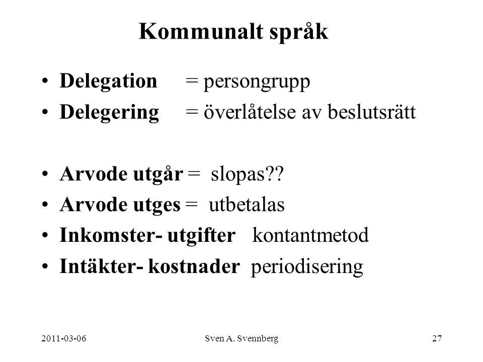 2011-03-06Sven A. Svennberg27 Kommunalt språk Delegation = persongrupp Delegering= överlåtelse av beslutsrätt Arvode utgår = slopas?? Arvode utges = u