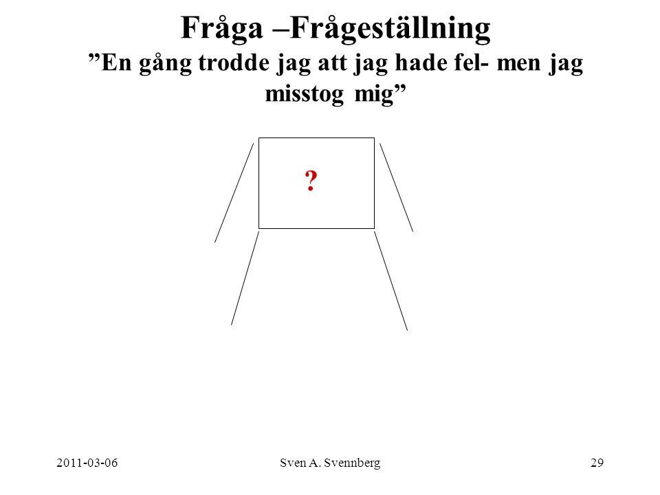 """2011-03-06Sven A. Svennberg29 Fråga –Frågeställning """"En gång trodde jag att jag hade fel- men jag misstog mig"""" ?"""