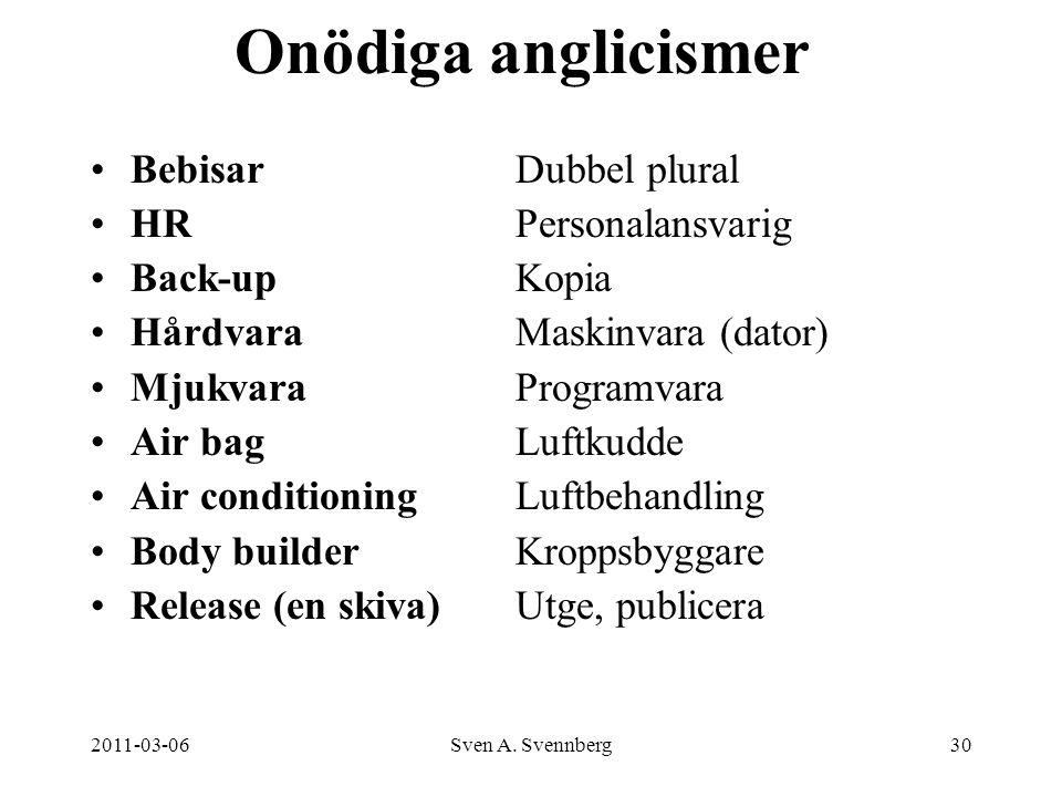 2011-03-06Sven A. Svennberg30 Onödiga anglicismer Bebisar Dubbel plural HRPersonalansvarig Back-upKopia HårdvaraMaskinvara (dator) MjukvaraProgramvara