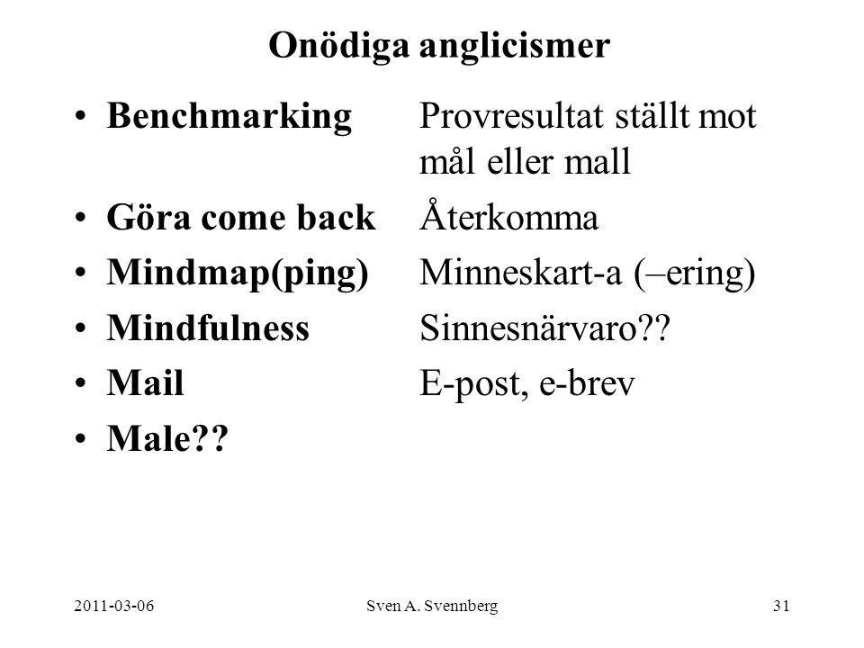 2011-03-06Sven A. Svennberg31 Onödiga anglicismer BenchmarkingProvresultat ställt mot mål eller mall Göra come backÅterkomma Mindmap(ping)Minneskart-a