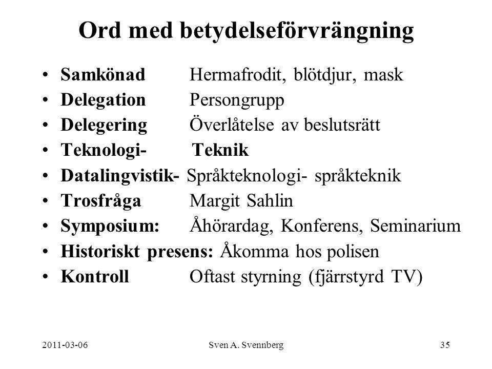 2011-03-06Sven A. Svennberg35 Ord med betydelseförvrängning Samkönad Hermafrodit, blötdjur, mask DelegationPersongrupp DelegeringÖverlåtelse av beslut
