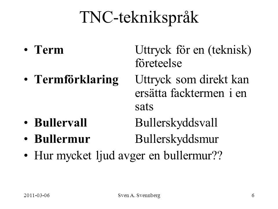 2011-03-06Sven A. Svennberg6 TNC-teknikspråk TermUttryck för en (teknisk) företeelse TermförklaringUttryck som direkt kan ersätta facktermen i en sats