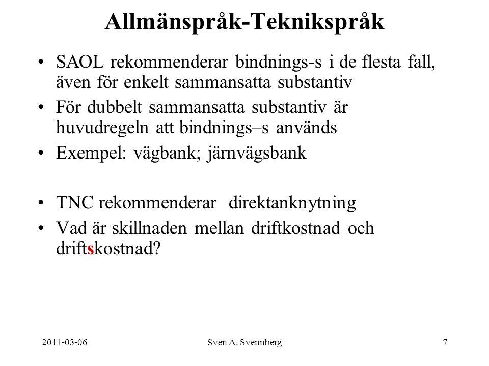 2011-03-06Sven A. Svennberg7 Allmänspråk-Teknikspråk SAOL rekommenderar bindnings-s i de flesta fall, även för enkelt sammansatta substantiv För dubbe