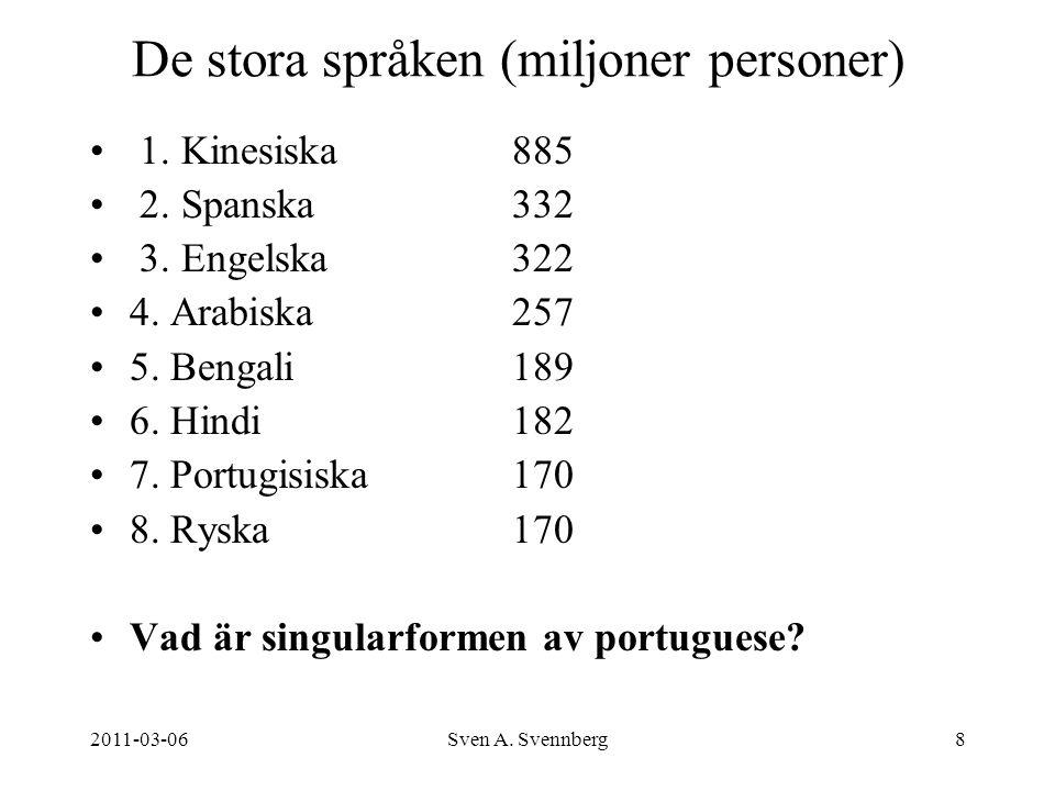 2011-03-06Sven A. Svennberg8 De stora språken (miljoner personer) 1. Kinesiska885 2. Spanska332 3. Engelska322 4. Arabiska 257 5. Bengali189 6. Hindi1