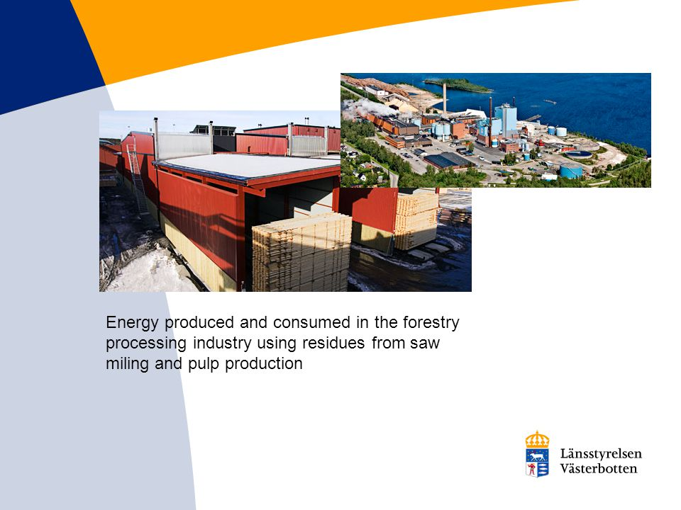 Energy produced and consumed in the forestry processing industry using residues from saw miling and pulp production