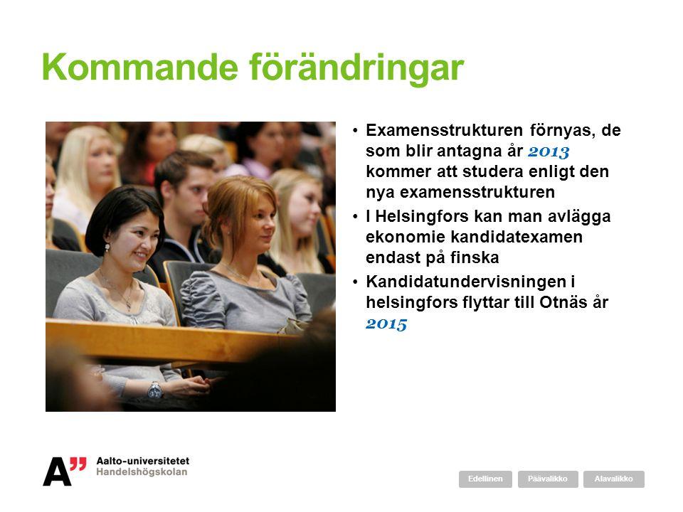 Kommande förändringar Examensstrukturen förnyas, de som blir antagna år 2013 kommer att studera enligt den nya examensstrukturen I Helsingfors kan man
