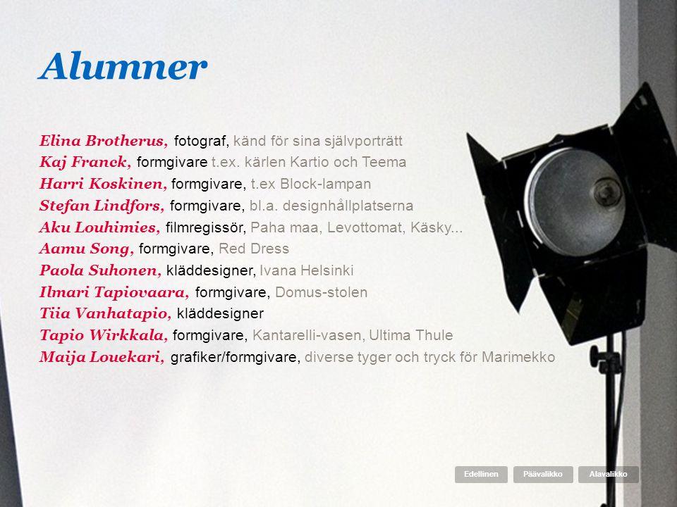 Alumner Elina Brotherus, fotograf, känd för sina självporträtt Kaj Franck, formgivare t.ex. kärlen Kartio och Teema Harri Koskinen, formgivare, t.ex B